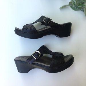 Dansko Black Leather Floral Detail Clog Sandal